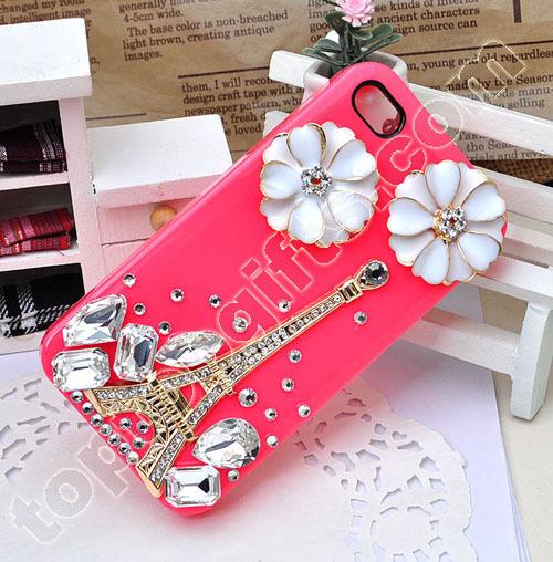Rhinestone Eiffel Tower Iphone4 Shell Case With Flower