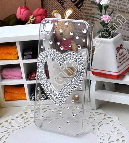 Rhinestone Heart Iphone4 Cover 2012 Fashion Lover S Mobile Phone Shell