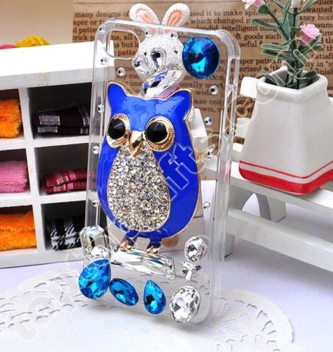 Rhinestone Owl With Enamel Iphone4s Mobile Phone Shell