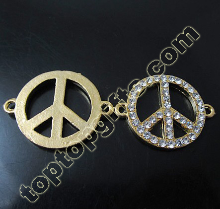 Rhinestone Peace Sign Connection