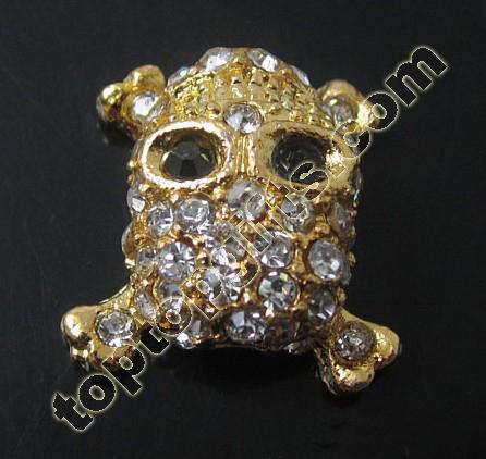 Rhinestone Skull Beads With Cross Back