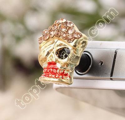 Rhinestone Skull Dust Plug Iphone Anti Stopper