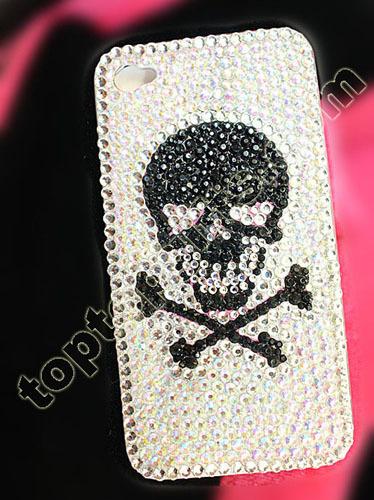 Rhinestone Skull Iphone Hard Case Cover