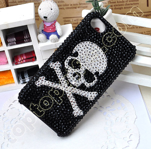 Rhinestone Skull With Cross Mobile Phone Shell Iphone4 Cover