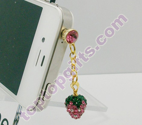 Rhinestone Strawberry Charm Iphone Anti Dust Plug