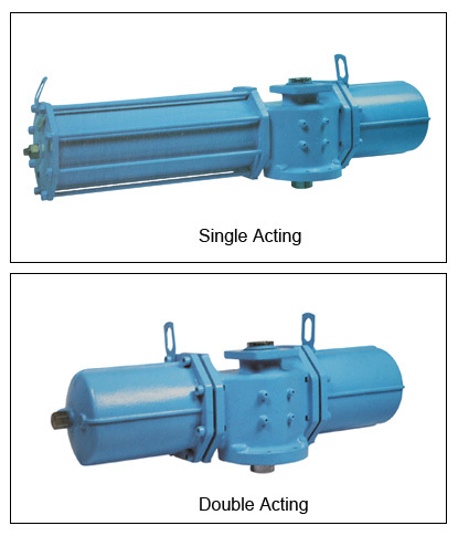 Rotary Pneumatic Valve Actuator Of Fork Type