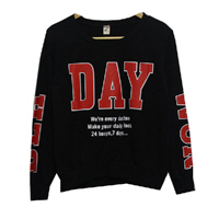 Round Neck Custom Design Knitted Sweat Shirt Ladies Pullover