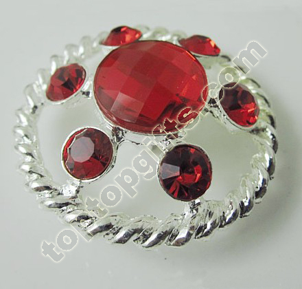 Round Red Rhinestone Button