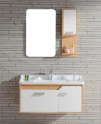 S 1509 Wall Mounted Oak Wood Bathroom Cabinet