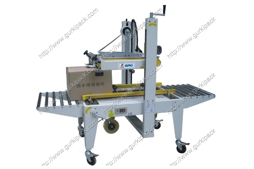 Semi Automatic Carton Sealer With Top And Bottom Side Belts Driven