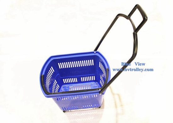 Shopping Basket Rolling Plastic With Wheels