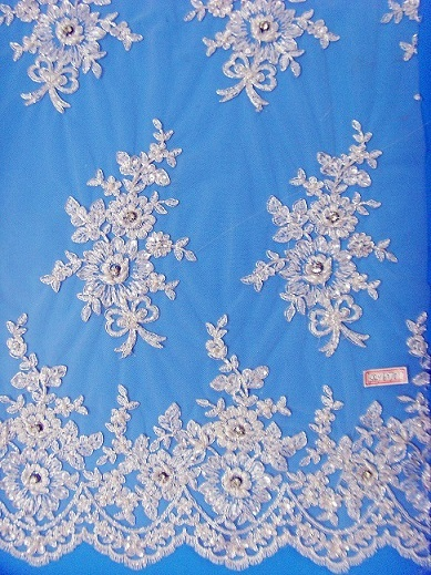 Silver Cording Bridal Lace Fabric