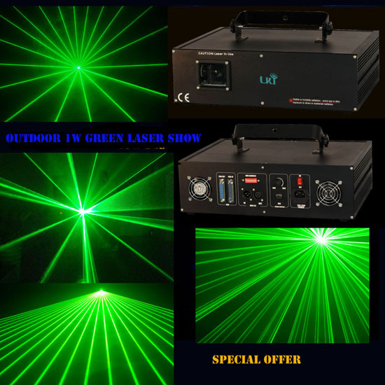 Single Green Powerful 1watt Analog With 35kpps Animation Laser Light