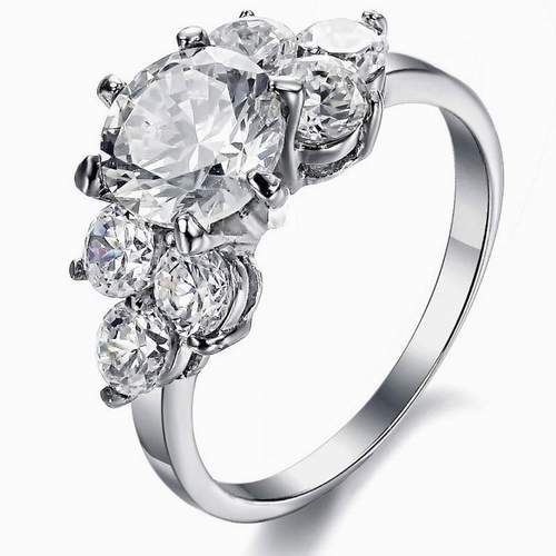 Stainless Steel Rings Set With Diamond Cut Cz Stone