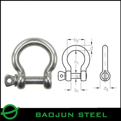 Stainless Steel Safety Pin Bow Shackle Omega With Nut And Split Range From