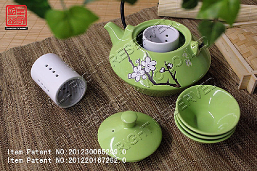Stoneware Tea Pot Set With Color Glaze And Hand Painting