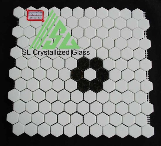 Super Thassos Glass Re Crystallized 2x2 Hexagon Mosaic