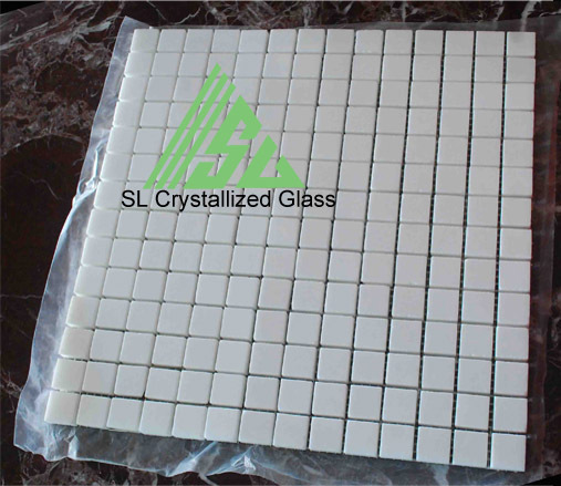 Super Thassos Glass Re Crystallized 2x2cm Square Mosaic