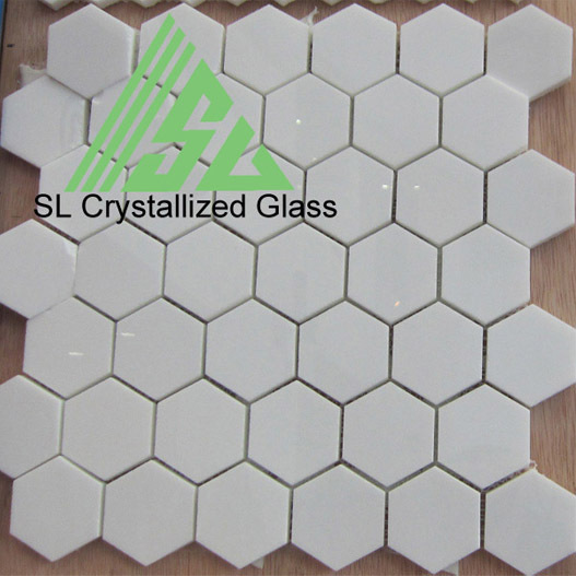 Super Thassos Glass Re Crystallized Hexagon Mosaic