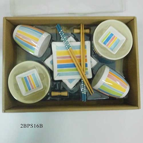 Sushi Set For Two With Color Glaze And Hand Painting