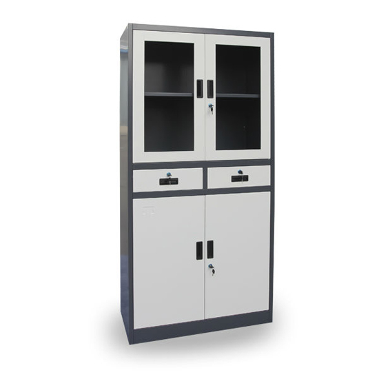 Swing Glass Door Metal Document Cabinet Filing Storage Steel Cupboard