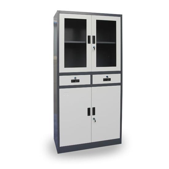Swing Glass Door Metal Document Cabinet Filing Storage Steel Cupboard