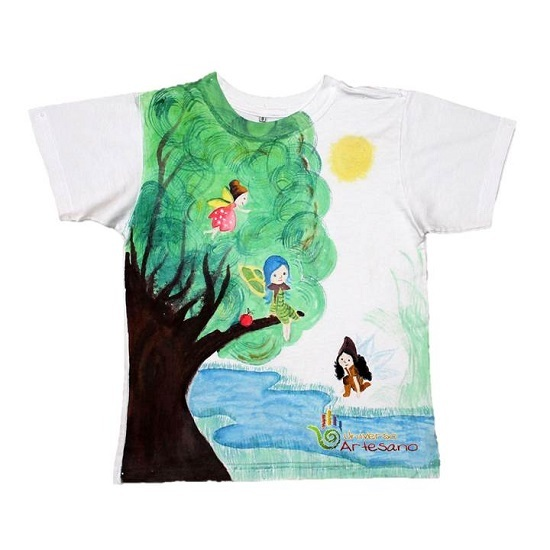 T Shirt For Kids Hand Pained 100 Pima Cotton Brand Universo Artesano