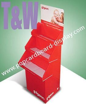 Three Tray Pop Cardboard Display Floor Stand With White Layer B Flute