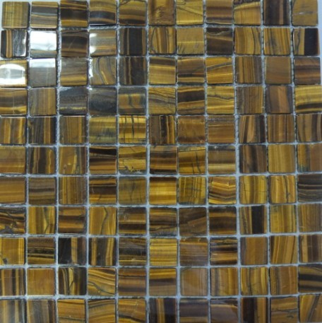 Tiger Eye Mosaic Semi Precious Stone Mesh Mounted