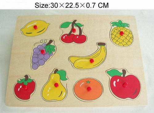 Tp110069 Wooden Fruit Puzzle In Red Knob