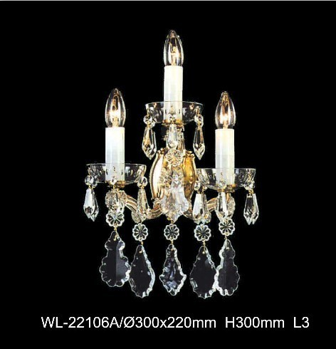 Traditional Style Candle Crystal Wall Lamp