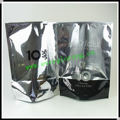 Transparent Front Side Metallic Foil Slide Zipper Bag