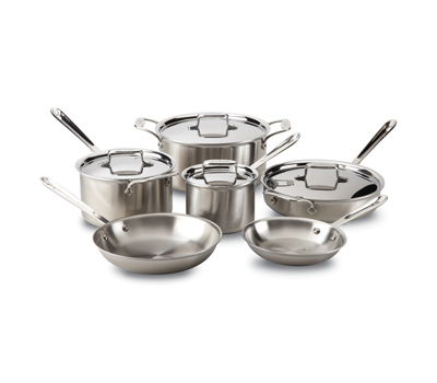 Tri Ply Clad Stainless 10 Piece Cookware Set