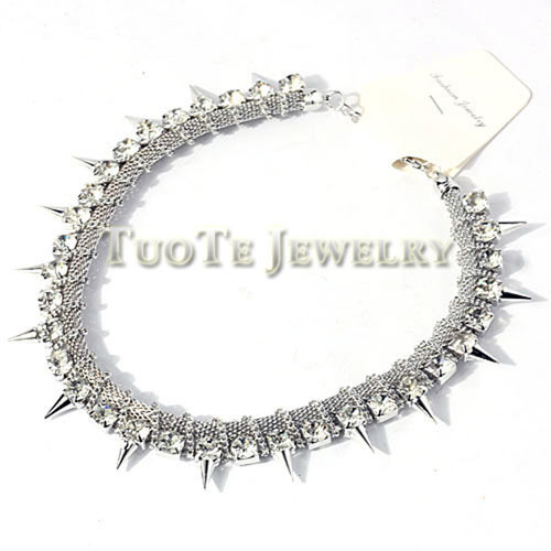 Ttxl1002 Rhoduim Plating Chain And Rhinestone Necklace