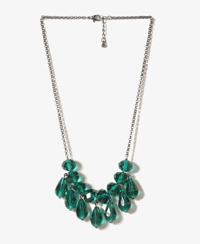 Ttxl2770 Long Chain With Teal Faceted Round And Teardrop Necklace
