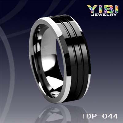 Tungsten Carbide Polished Ring Men Pipe Cut Fashion Black Tun
