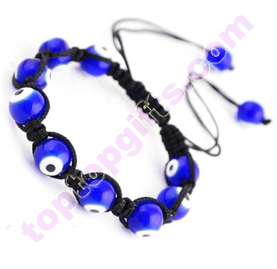 Turkey Eye Glass Shamballa Bracelet Knitted Cord