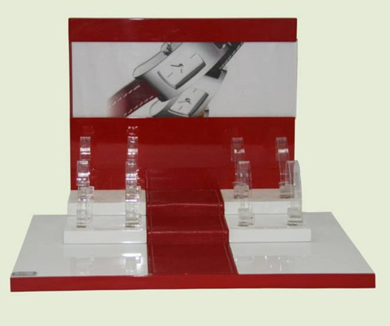 Watch Display White And Red Acrylic Or Mdf