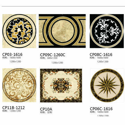 Water Jet Pattern Medallion Flooring Tiles Hotel Hall