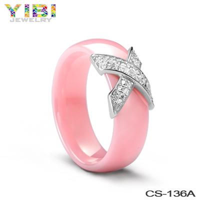 White Ceramic Cocktail Fashion Promise Wedding Band Ring