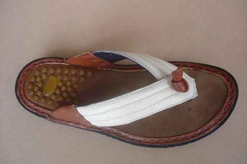 White Flipflop Men Leather Sandals T803 5