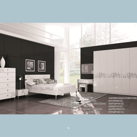 White High Gloss With Silk Paint Bedroom Set Manufacture