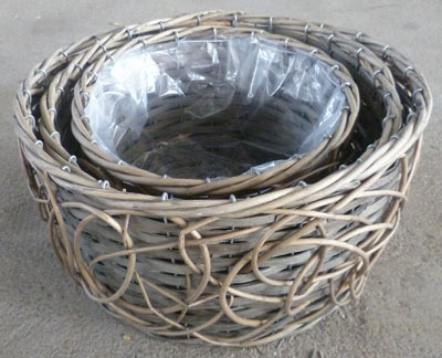 Wicker Garden Basket Willow Flower Pot Vase Wood