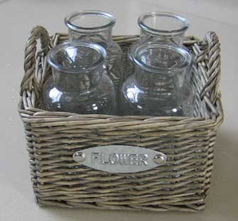 Wicker Garden Basket Willow Flower Pot Vase Zinc Planters Decorations