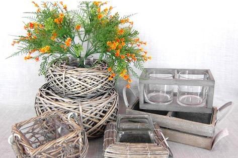 Wicker Garden Basket Willow Flower Pot Vase Zinc Planters