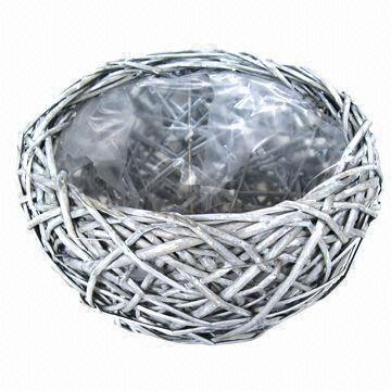 Willow Flower Basket Wicker Garden Planter Pot Decoration Zinc