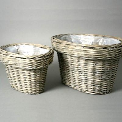 Willow Flower Pot Zinc Basket Garden