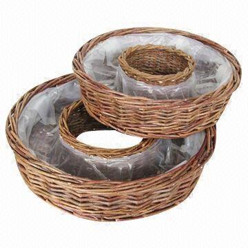 Willow Flower Pot Zinc Basket Garden Wicker Decorations Planter