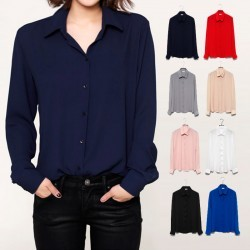 Womens Long Sleeve Chiffon Shirts