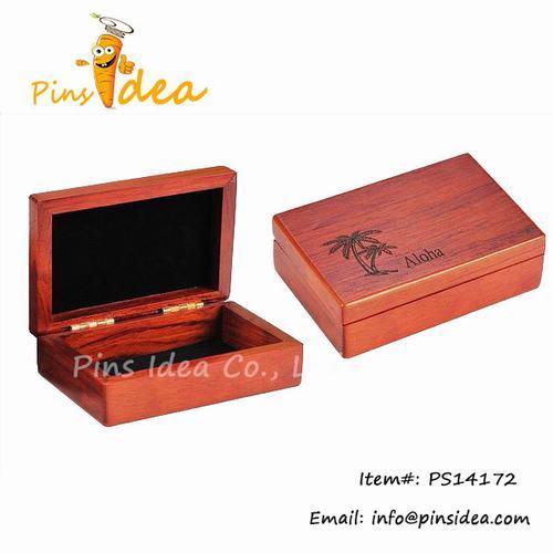 Wooden Gift Box Packing Hard Wood Engraved Logo Black Felt Lined Interior C